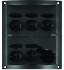 5 Gang Switch Panel - With Cigarette Socket Model: 10160-BK