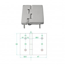 Stainless Steel Heavy Duty Hinge 316 Model No: 81012-02/1