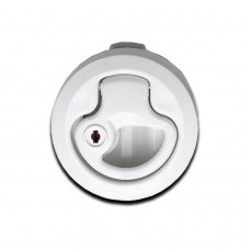 Lift Handle Flush Latch - White (With Lock & Key)