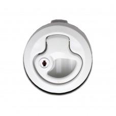 Life Handle Flush Latch - White (With Lock)