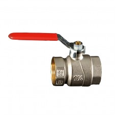 Brass F.F Ball valve - Steel Handle Red Plastic Covered