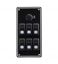 6 Gang Switch Panel - With Cigarette Lighter Socket