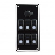 6 Gang Switch Panel - With Cigarette Lighter Socket
