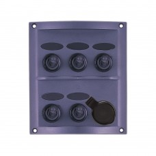 5 Gang Switch Panel - With Cigarette Socket Model: 10160-BK