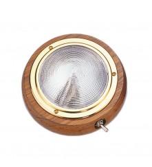 "Teak Wood Dome Light 4"" - Surface Mount"
