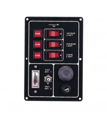 3 Gang Switch Panel - With Battery Test Gauge & Horn Switch