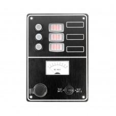 3 Gang Switch Panel - With Cigarette Lighter Socket + Volt Meter