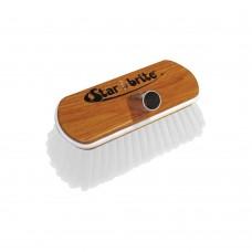 "Hard Wash Brush - Wood Block 8"" with Bumper Brush (White)"