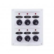 6 Gang Switch Panel - White Panel with LED Indicators