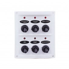 6 Gang Switch Panel - White Panel with LED Indicators